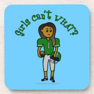Fútbol para mujer verde oscuro posavasos de bebidas
