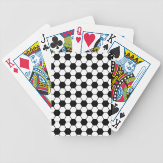 Futbol pattern in black and white bicycle playing cards