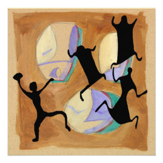 Fútbol prehistórico del dibujo de la cueva Sq Invitación Personalizada