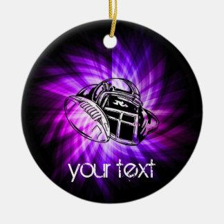 Fútbol púrpura fresco adorno navideño redondo de cerámica
