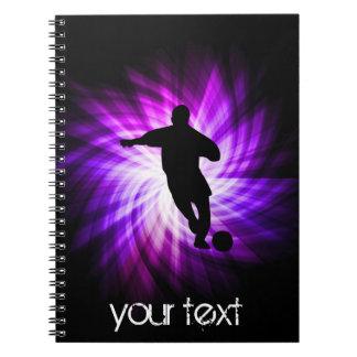 Fútbol púrpura fresco libros de apuntes con espiral