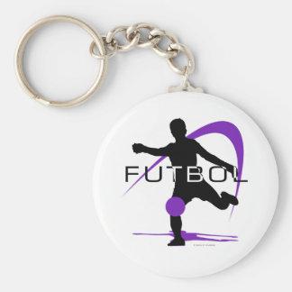Futbol - púrpura - muchachos llavero redondo tipo pin