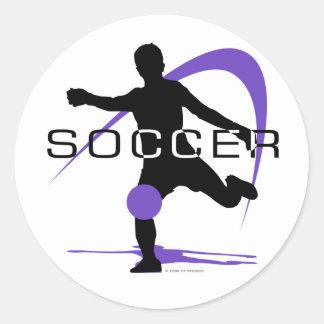 Fútbol - púrpura - muchachos pegatina redonda
