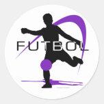 Futbol - púrpura - muchachos pegatina redonda