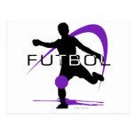 Futbol - púrpura - muchachos postal