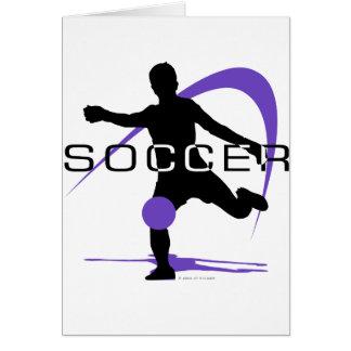 Fútbol - púrpura - muchachos tarjeta de felicitación