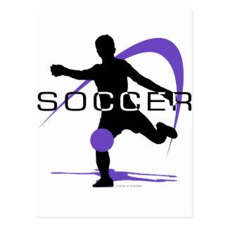 Fútbol - púrpura - muchachos postal