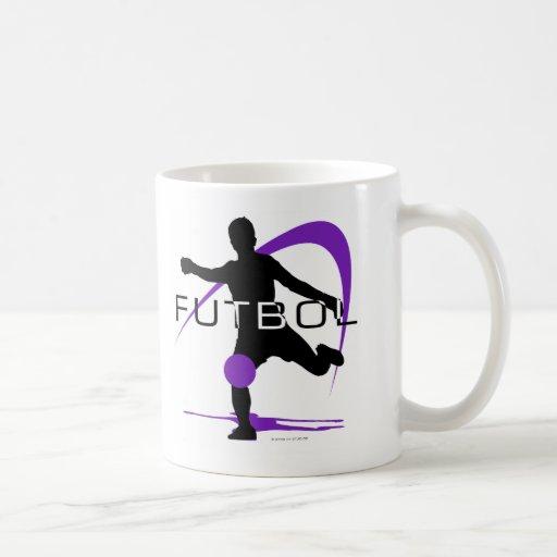 Futbol - púrpura - muchachos taza de café