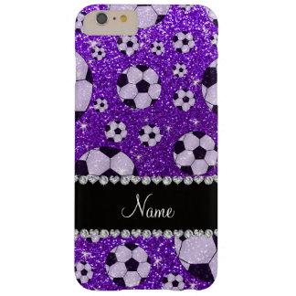 Fútbol púrpura personalizado del brillo del añil funda barely there iPhone 6 plus