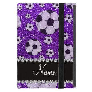 Fútbol púrpura personalizado del brillo del añil iPad mini coberturas