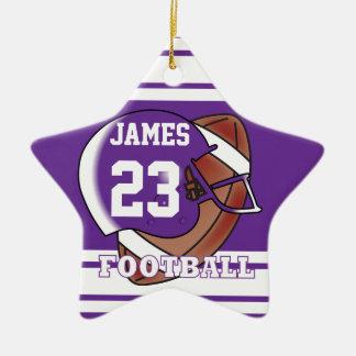 Fútbol púrpura y blanco adorno navideño de cerámica en forma de estrella