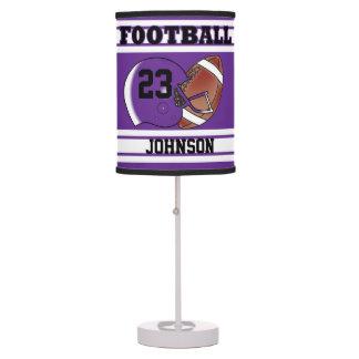 Fútbol púrpura y blanco lámpara de escritorio
