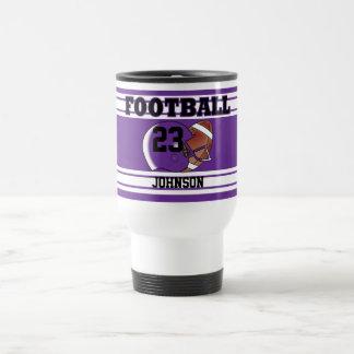 Fútbol púrpura y blanco taza de viaje