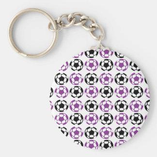 Fútbol púrpura y negro llavero redondo tipo pin