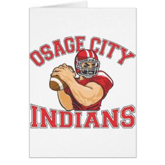 Fútbol QB de los indios de la ciudad de Osage Tarjeta De Felicitación