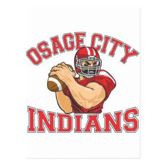 Fútbol QB de los indios de la ciudad de Osage Tarjetas Postales