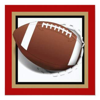 """Fútbol que rasga hacia fuera - rojo y oro con invitación 5.25"""" x 5.25"""""""