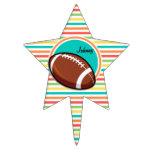 Fútbol; Rayas brillantes del arco iris Figuras Para Tartas