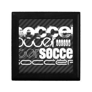 Fútbol; Rayas negras y gris oscuro Caja De Regalo Cuadrada Pequeña