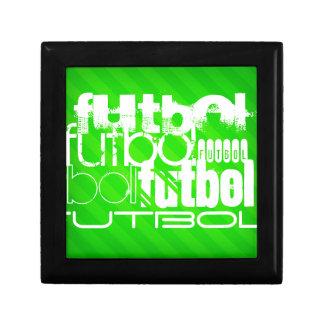 Futbol; Rayas verdes de neón Caja De Joyas