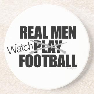Fútbol real del reloj de los hombres posavasos de arenisca