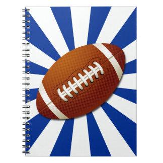 Fútbol retro de los colores del equipo del azul y  libro de apuntes