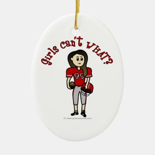 Fútbol rojo claro adorno ovalado de cerámica