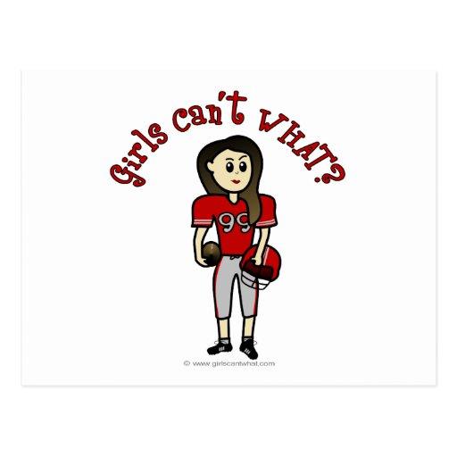 Fútbol rojo claro de los chicas postal