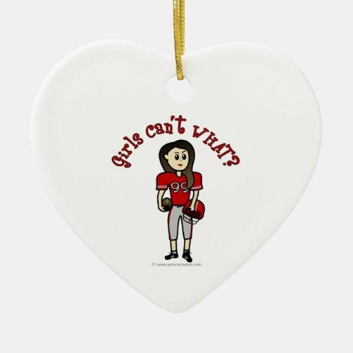 Fútbol rojo claro adorno de cerámica en forma de corazón