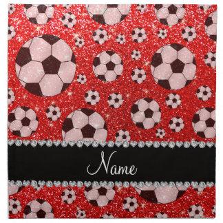 Fútbol rojo de neón conocido personalizado del servilleta imprimida