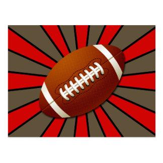 Fútbol rojo retro del negro y del oro postal