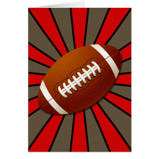Fútbol rojo retro del negro y del oro felicitacion