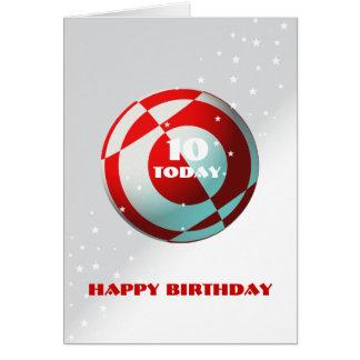 Fútbol rojo y blanco tarjeta de felicitación