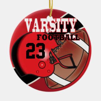 Fútbol rojo y negro del equipo universitario adorno navideño redondo de cerámica