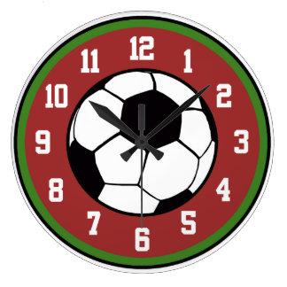 Fútbol rojo y verde reloj