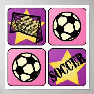 Fútbol rosado impresiones
