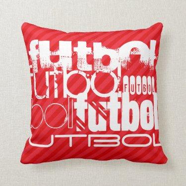 Futbol; Scarlet Red Stripes Throw Pillow