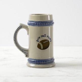 Fútbol - texto azul jarra de cerveza