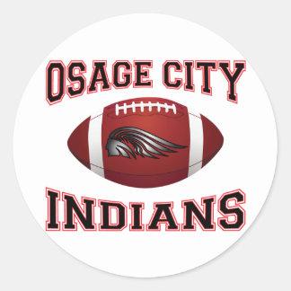 Fútbol tribal de los indios de la ciudad de Osage Pegatina Redonda