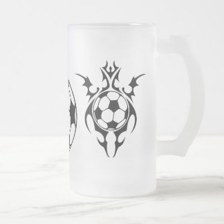 futbol. tribal. frosted glass beer mug
