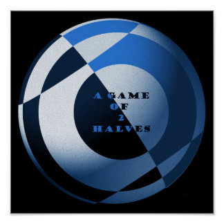 Fútbol un juego del azul de 2 mitades póster