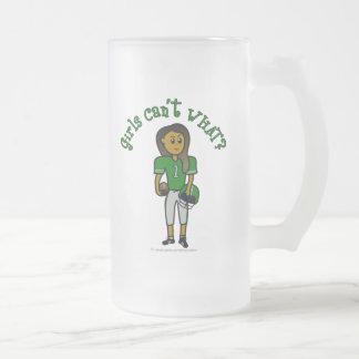 Fútbol verde oscuro taza de cristal