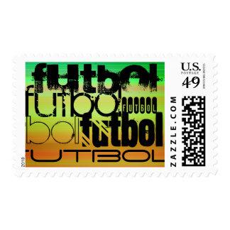 Futbol; Vibrant Green, Orange, & Yellow Stamp