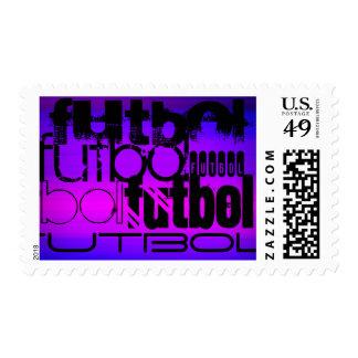 Futbol; Vibrant Violet Blue and Magenta Postage Stamps