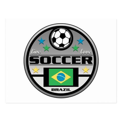 Fútbol vivo el Brasil del amor Tarjeta Postal