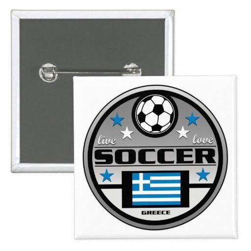 Fútbol vivo Grecia del amor Pin Cuadrada 5 Cm