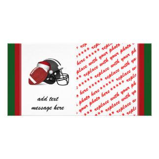 Fútbol y casco del navidad tarjeta fotográfica