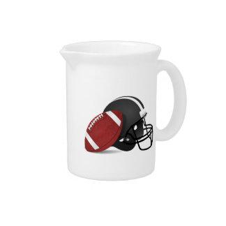 Fútbol y casco jarra de beber
