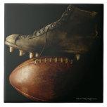Fútbol y listón azulejo ceramica