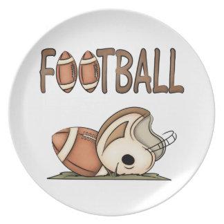 Fútbol y placa de los niños del casco plato para fiesta